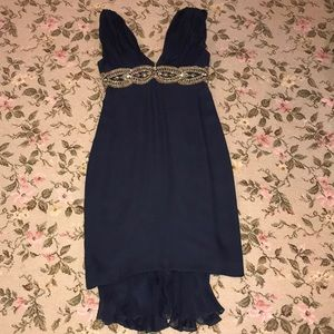 MARCHESA NATTE SIZE SMALL NAVY DRESS
